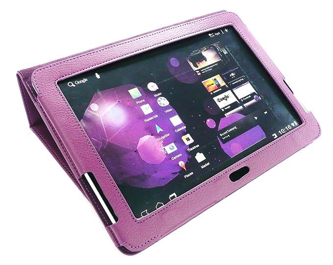 Emartbuy Mochila de Cuero Morado Multifuncional/Multi ángulo Cartera Cubierta Soporte/Tipo de Estuche Compatible con Samsung Galaxy Tab 10.1 Tablet 2