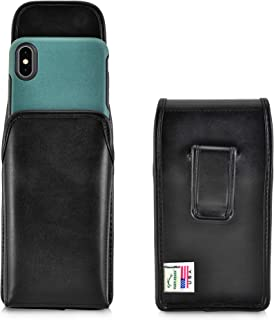product image for Turtleback Holster Designed for iPhone 11 Pro Max (2019) / XS Max (2018) with OTTERBOX Symmetry, Vertical Belt Case Black Leather Pouch with Executive Belt Clip, Made in USA