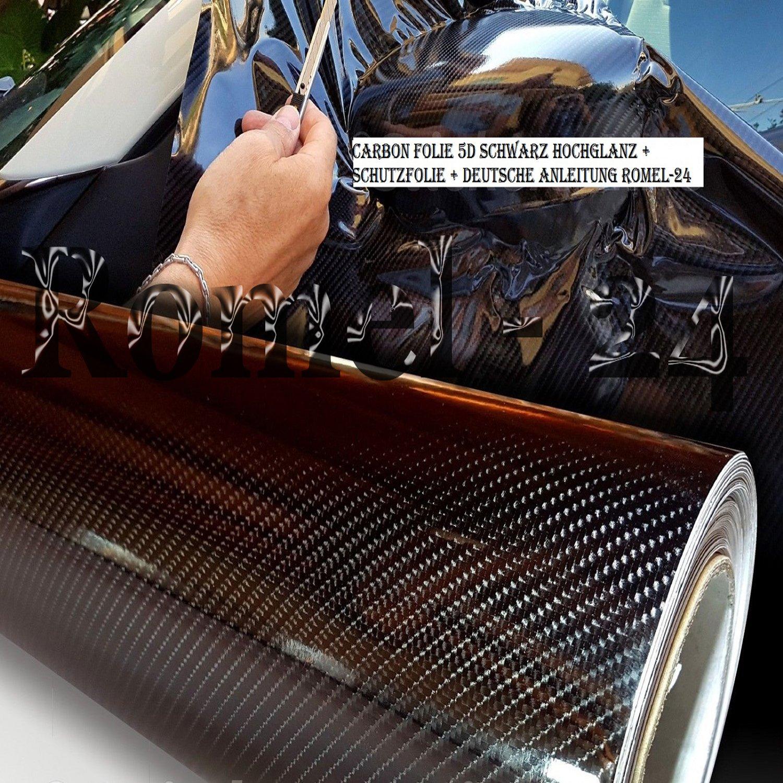 FOLIE SELBSTKLEBEND HOCHGLANZ LUFTKAN/ÄLE CARBON 5D SCHWARZ 24 Romel 30cm x 150cm DEUTSCHE ANLEITUNG 19,71/€//m/²