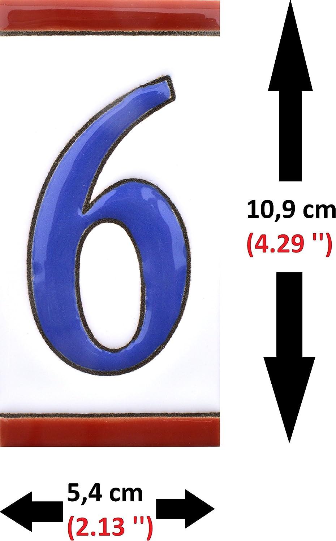 NUMERO TRES 3 Numeros y letras en azulejo de ceramica pintados a mano en t/écnica cuerda seca para nombres direcciones y se/ñal/éctica N/úmeros casa Dise/ño USA MEDIANO 10,9 cm x 5,4 cm.