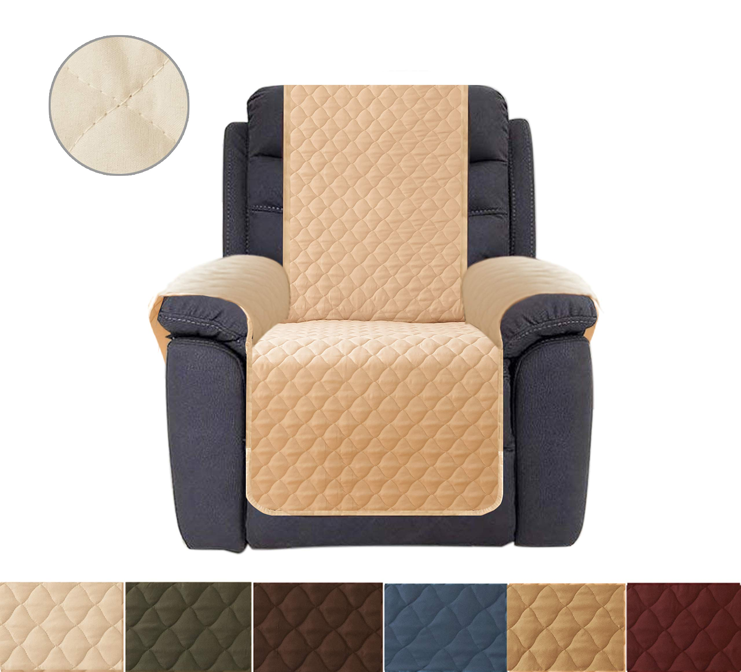 Ameritex Sofa Cover, Reversible Quilted Furniture Protector, Ideal Loveseat Slipcovers for Pets & Children, Water Resistant, | Double line Checkered Grid Blue (Pattern1:Khaki/Beige, Recliner)