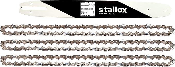 """tallox 1 Espada y 3 Cadenas de Sierra 3/8"""" 1,1 mm 52 eslabones 35 cm Compatible con Oregon Makita Bosch"""