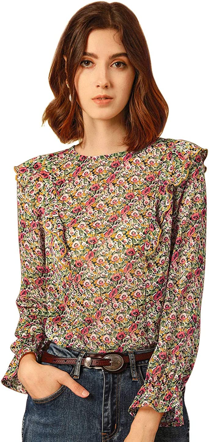 Allegra K Women's Floral Ruffle Shoulder Back Keyhole Blouse Long Bell Sleeve Top