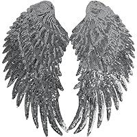 1 Par Parche Alas De Encaje De Lentejuelas para Coser Decoración Accesorios de ropa - Plata, Un tamaño
