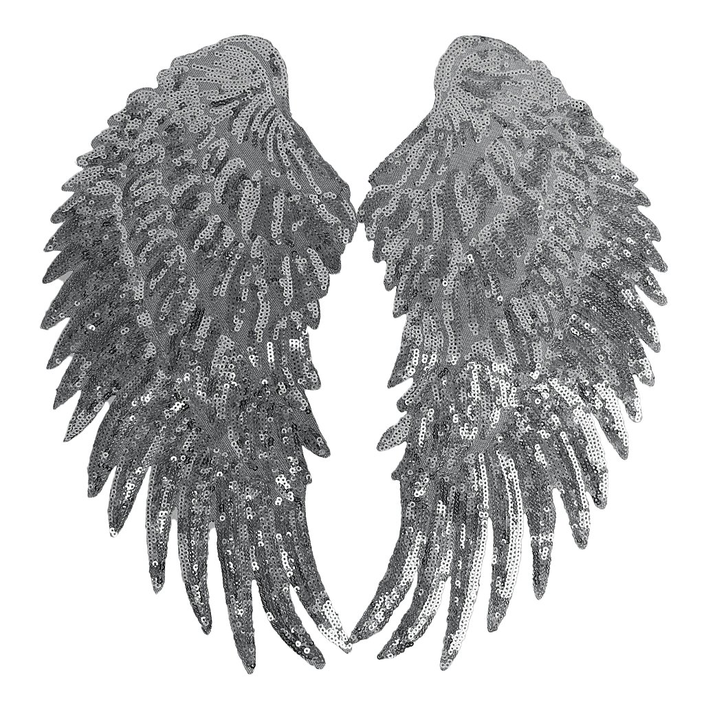 Coppia di ali in pizzo con paillette da cucire come decorazione, accessorio per biancheria Un tamaño argento Generic