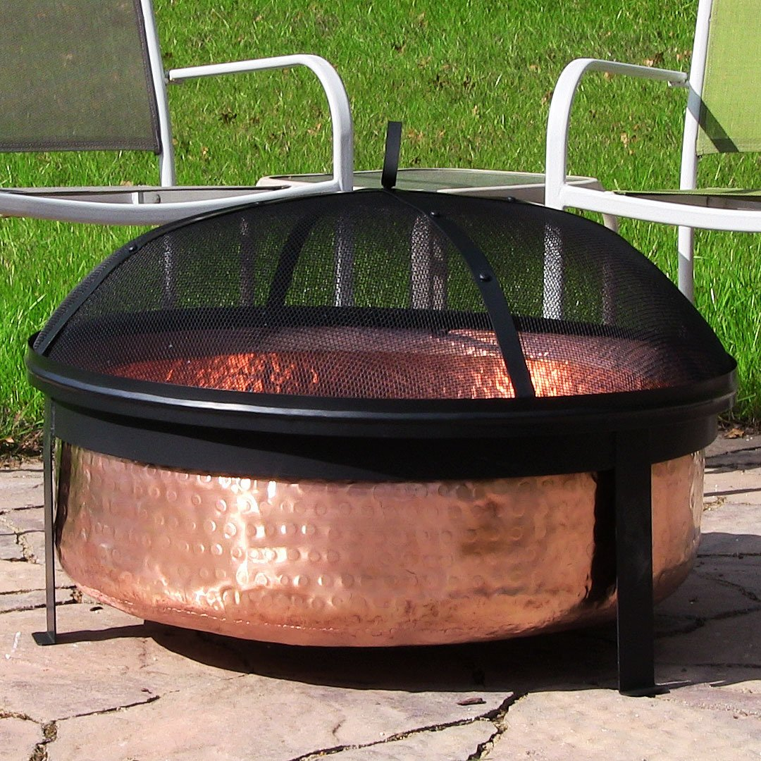 amazon com sunnydaze hammered 100 copper wood burning fire pit