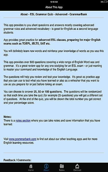 Amazon com: ESL Grammar Advanced Quiz - Grammarbank: Appstore for