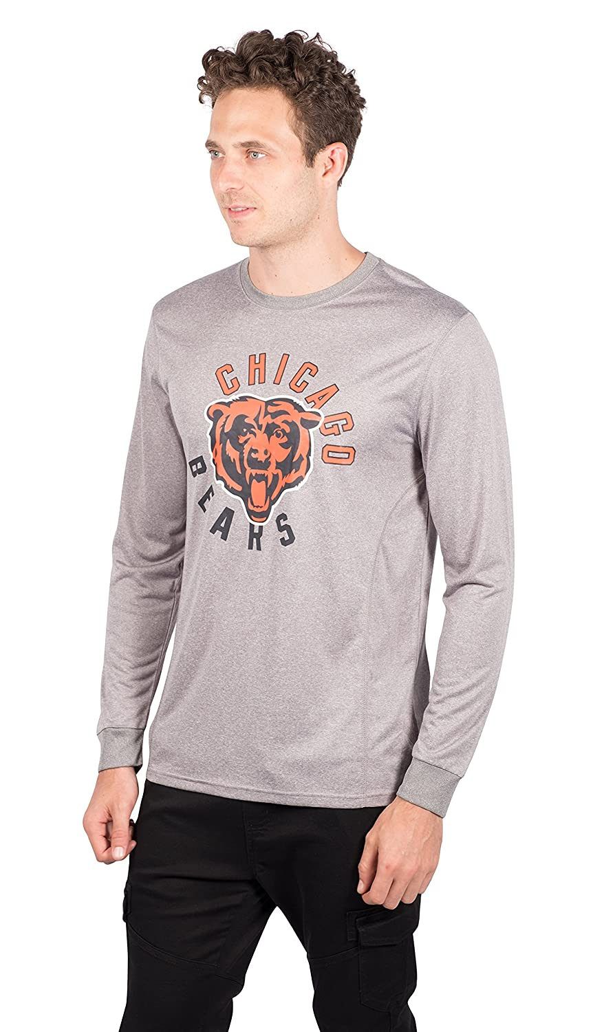Heather Gray NFL Chicago Bears Ultra Game Mens LS POLY CREW NECK TEE Medium