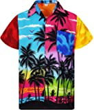 V.H.O Funky Hawaiian Shirt for Men Short-Sleeve Front-Pocket Hawaiian-Print Every Shirt is a Unique Mix Beachdesigns
