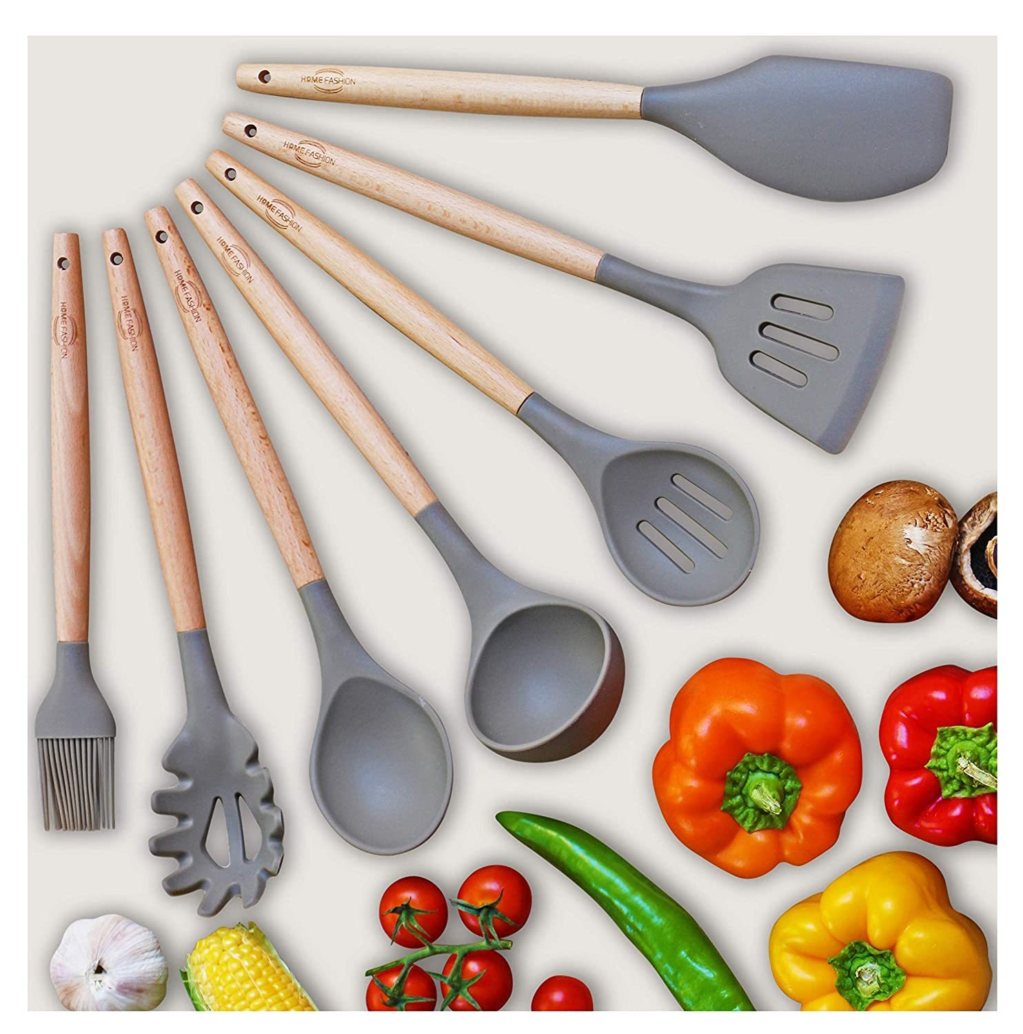 Kitchen Utensil Set - 7 Best Kitchen Utensils - Nonstick Cooking Spatulas - Silicone & Wood - For Pots & Pans - Spoon & Slotted Spoon, Ladle, Spatula, Pasta Server, Slotted Turner, Oil Brush + Gift Home fashion