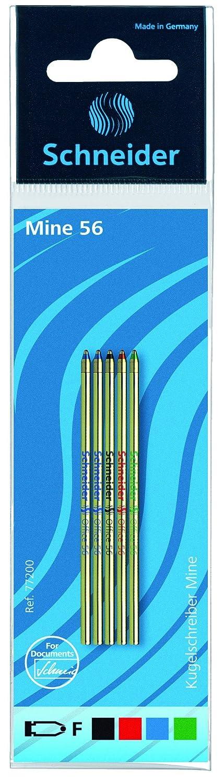 F blau schwarz Schneider Schreibgeräte Mehrfarb-Kugelschreibermine Office 56 grün 5er SB-Beutel grün 5er SB-Beutel 77200 129507 rot