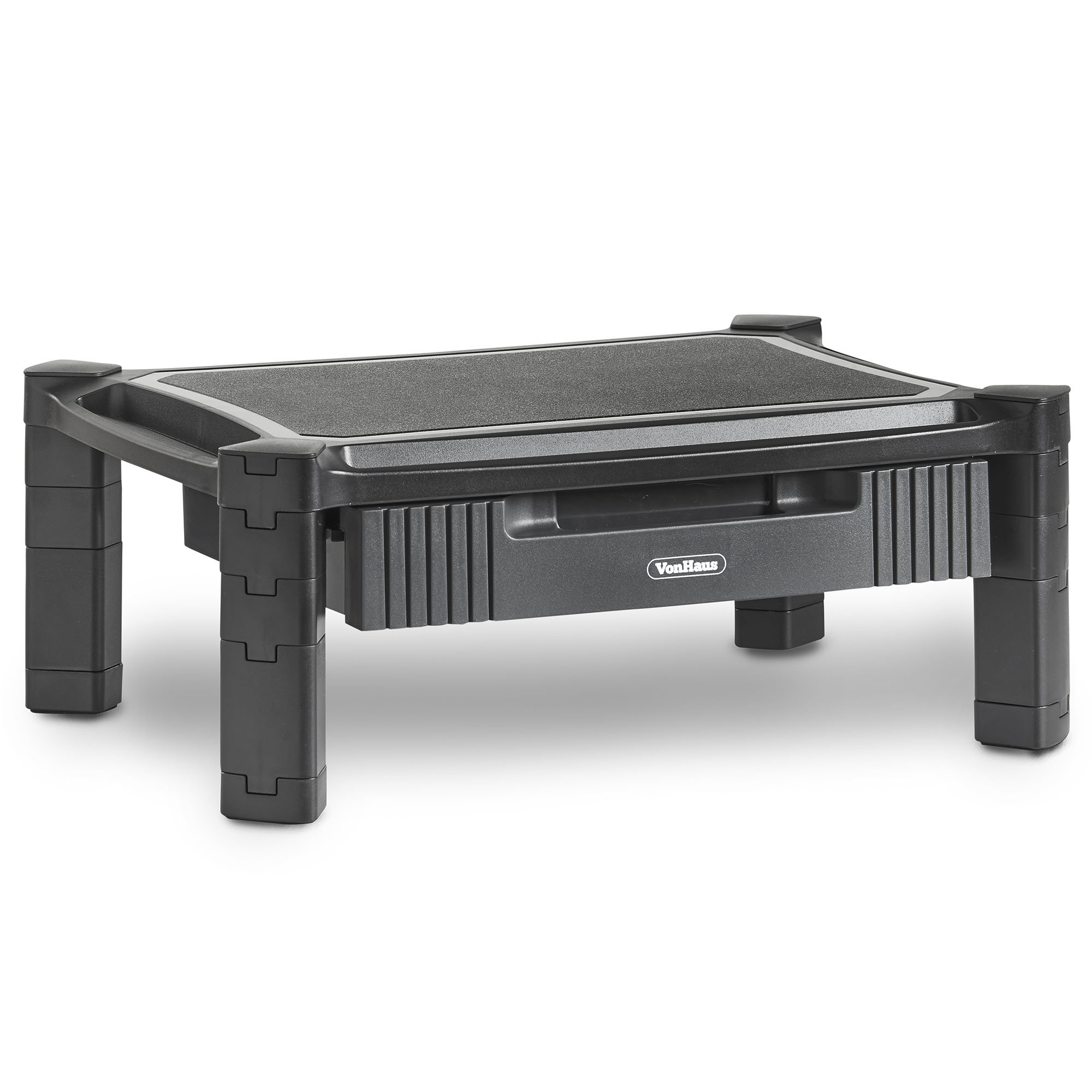 VonHaus Height Adjustable Monitor Laptop Stand with Drawer and In Built Cable Management