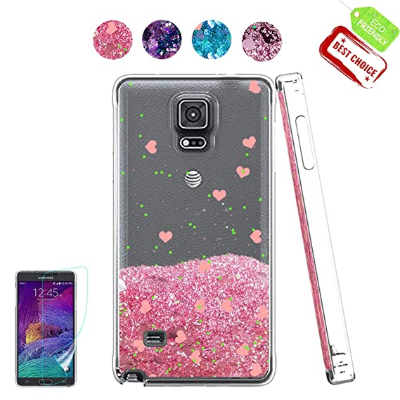 promo code 44fde 6c664 Note 4 Case, Galaxy Note 4 Case, [Love Heart Series] Liquid Glitter Cute  Phone Cover with HD Screen Protector, Bling Liquid Sparkly Luxury Soft ...