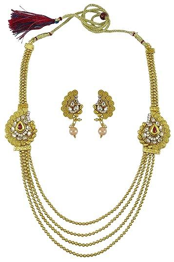 Engagement & Wedding Traditional Indian Goldtone Cz Stone Necklace Set Designer Women Party Jewellery