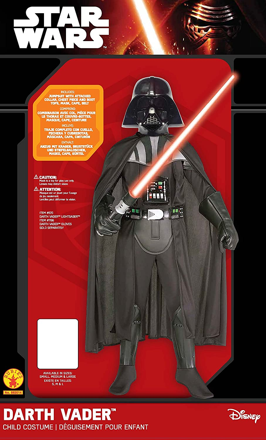 Amazon.com: Star Wars Deluxe Darth Vader Deluxe Child Costume, Large (12 - 14): Toys & Games