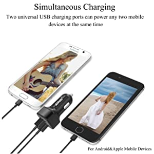 Ailun Car Charger Adapter [2Pack] Dual Smart USB Ports,4.8A/24W,Compatible iPhone X/Xs/XR/Xs Max, 8/7 Plus,6 6s Plus,SE 5s Galaxy S9 S8 S7 S6 Note 8 9