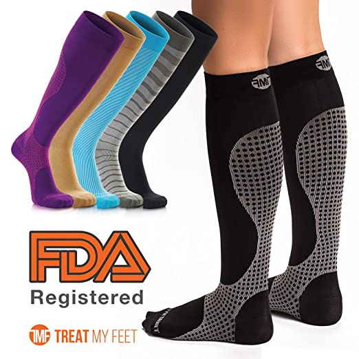 a8a5e1ed9 Compression Socks for Men & Women - Knee-high compression stockings relieve  calf, leg