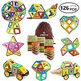 Mibote Magnetic Building Blocks Magnet Tiles Set Educational Stacking Blocks Toys for Toddler Kids 126 Piece
