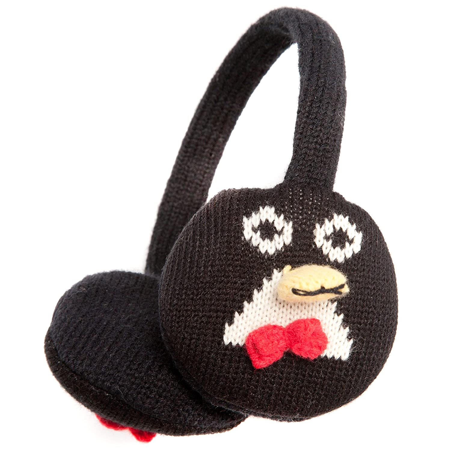 Cute Black and White Penguin Style Ear Muffs with bowtie - Onesize fits most