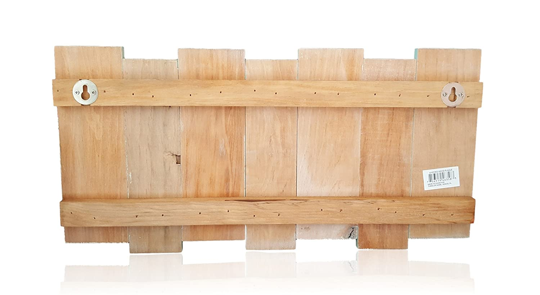 Amazon.com: Coastal Wood Wall Coat Rack-4 Double Metal Hooks ...