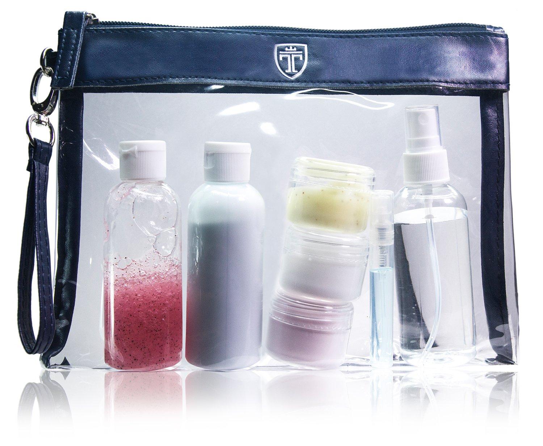 Elegante neceser de PVC y cuero sintético con 7 envases impermeables.