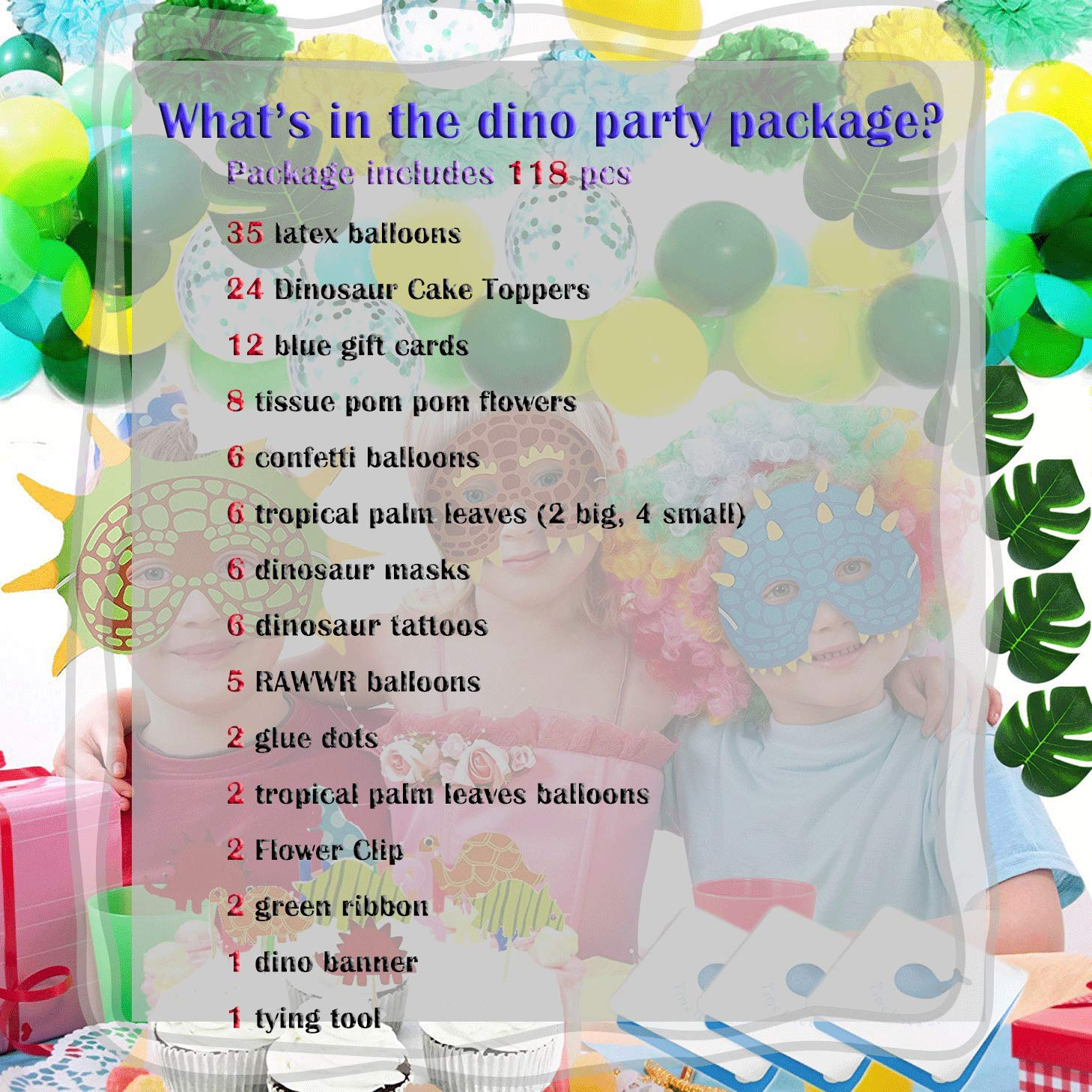 FunPlux Dinosaur Party Supplies 118PCS Little Dinosaur Party Favors Dinosaur Birthday Decorations Sets Including Cake Topper Latex Balloons Tattoo Pom Pom Flowers Banner Tying Tool for Boy and Girls Birthday Party Baby Shower Decorations