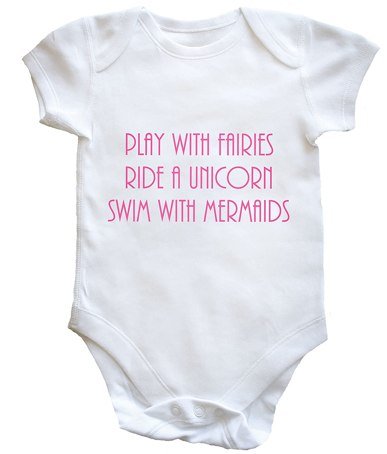 Hippowarehouse Play with Fairies, Ride a Unicorn, Swim with Mermaids Baby Vest Boys Girls
