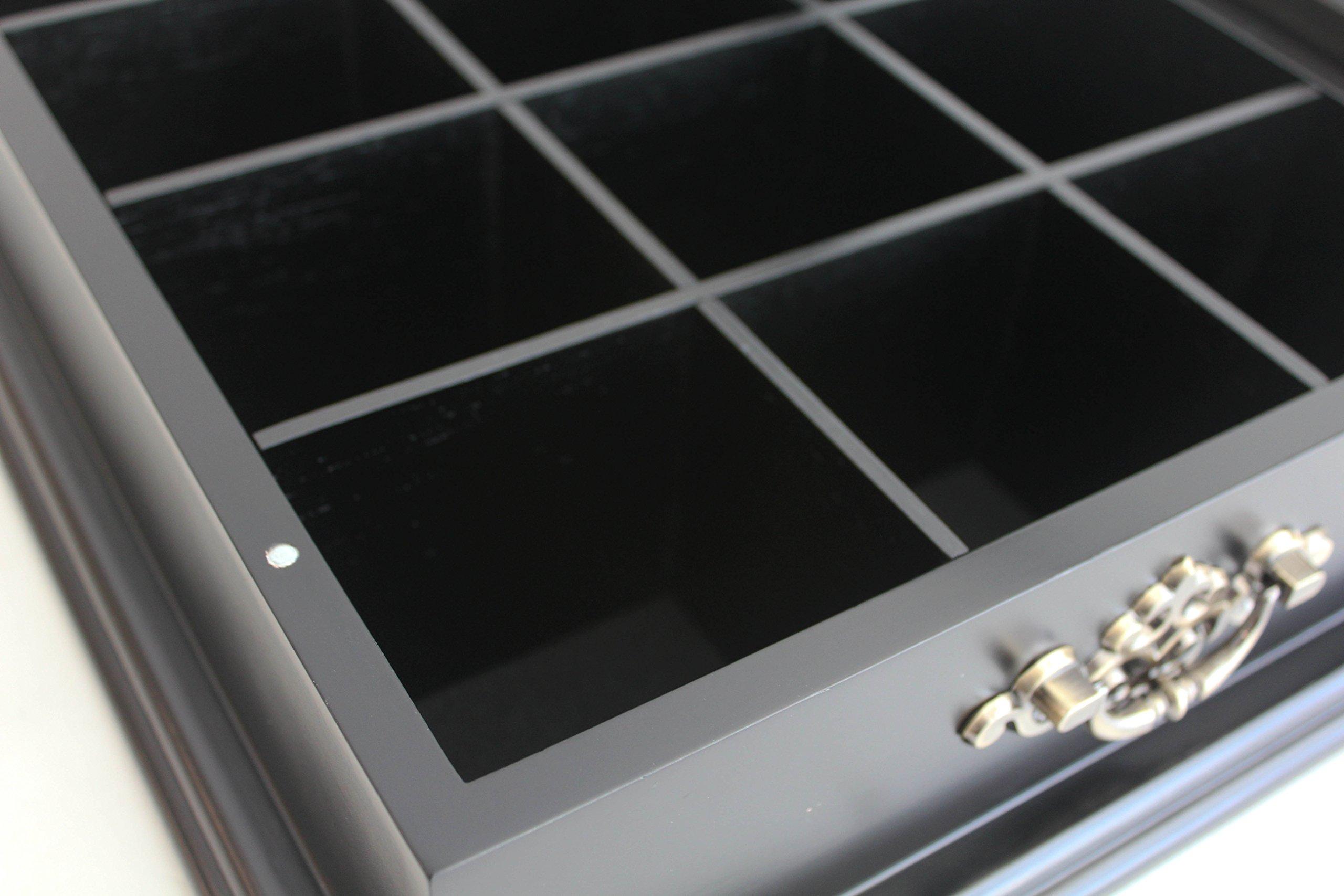 Large Tea Bag Chest Cabinet/Tea Bag Storage Box, Solid Wood (Black Finish) by DisplayGifts (Image #4)