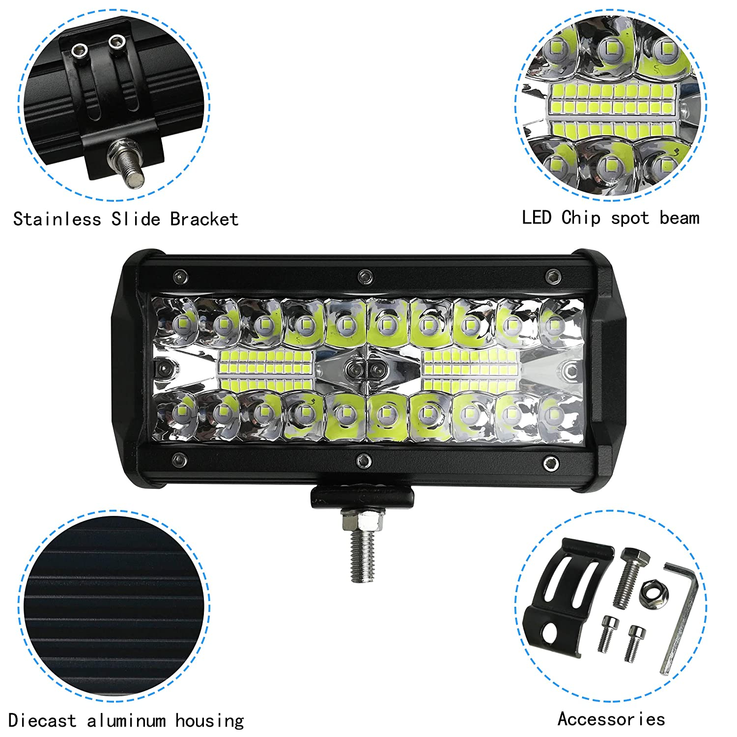 3 Years Warranty Woku LED Light Bar 7 INCH 120W 9600 LM Triple Row Led Light Bar Spot Light Driving Fog Light IP67 Waterproof Off Road Work Light for UTV JEEP Truck and Boat