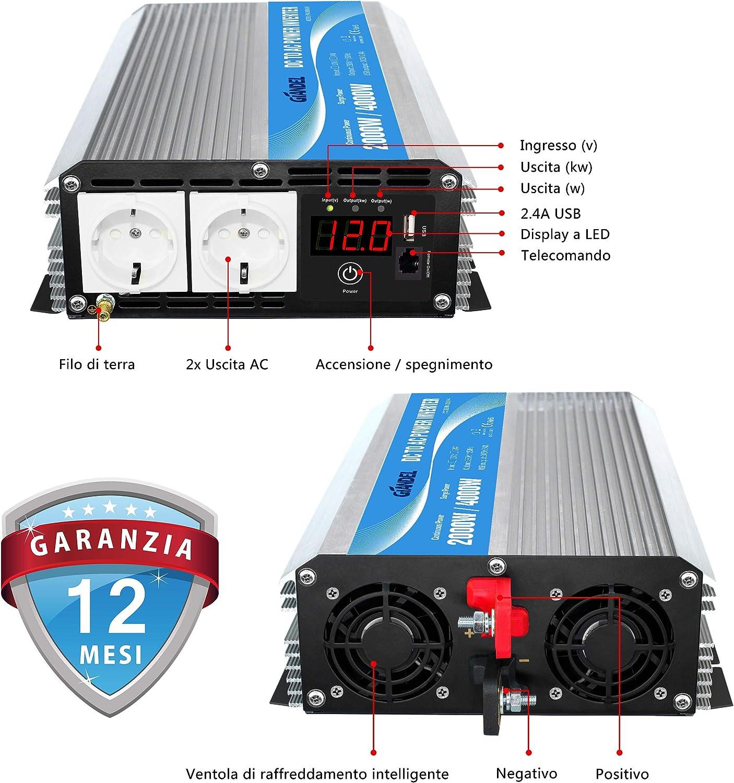 3000 W AC 12 V auf DC 220 V 230 V 240 V f/ür Auto f/ür den Hausgebrauch Giandel Wechselrichter 1000 W