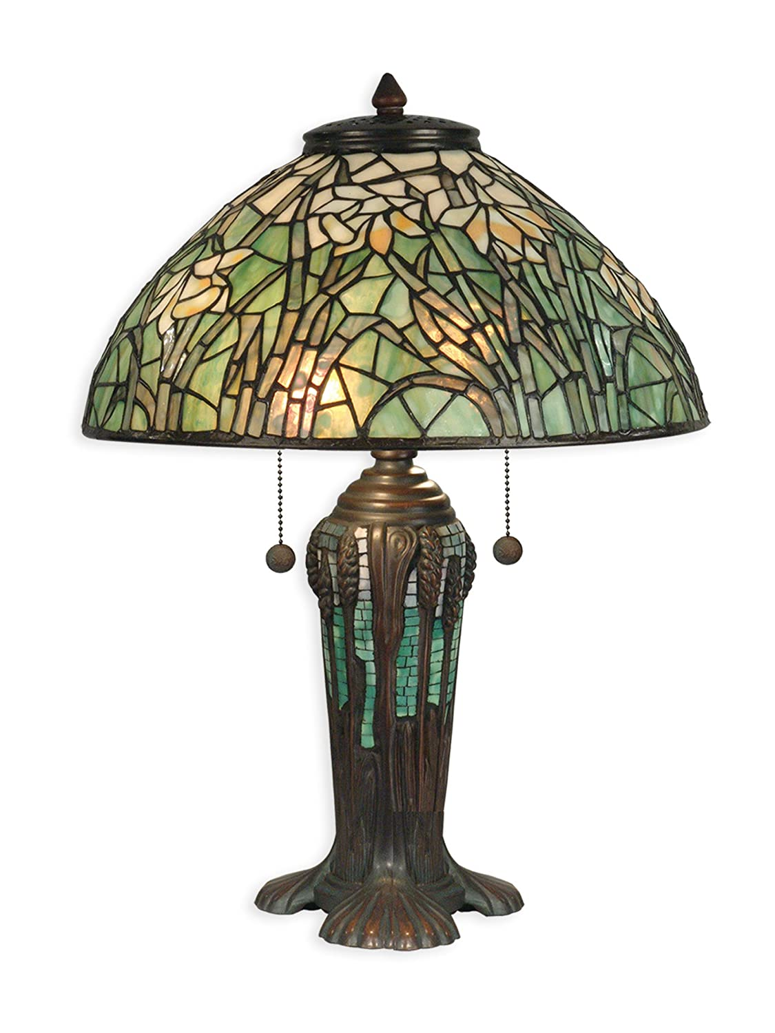 Glass shade table lamp - Dale Tiffany Tt90429 Tiffany Table Lamp Antique Bronze Verde Green And Art Glass Shade Amazon Com