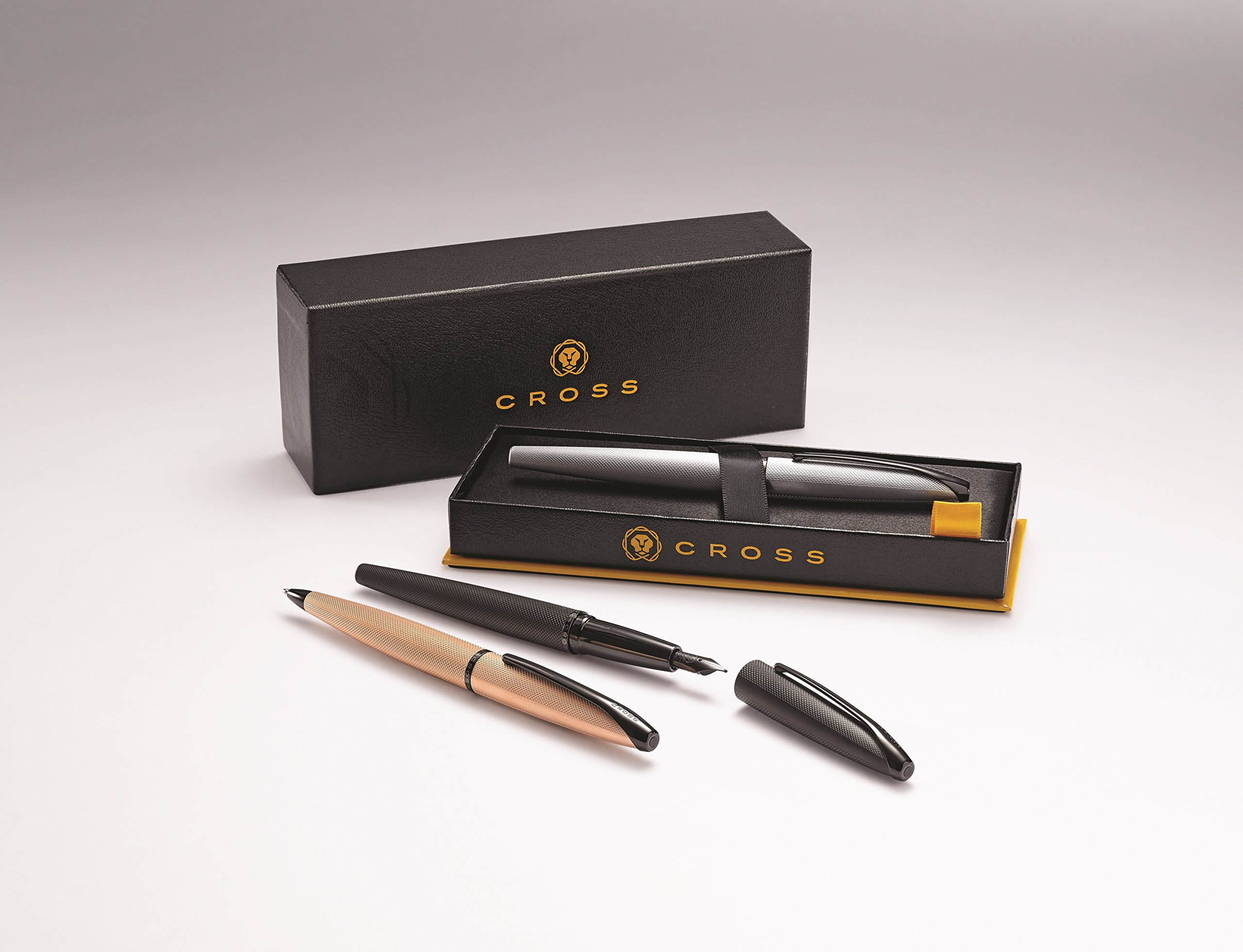 Cross ATX Brushed Black Fountain Pen with Polished Black PVD Appointments - Medium Nib by Cross (Image #9)