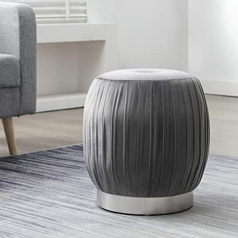 Terrific Art Leon Velvet Ottoman Pleated Tufted Small Round Vanity Stool Modern Upholstered Foot Rest Ottoman Stool Seat With Silver Plated Base For Dresser Andrewgaddart Wooden Chair Designs For Living Room Andrewgaddartcom