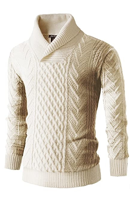 Men's Vintage Style Sweaters – 1920s to 1960s Mens Cali Holi Cable Knit Shawl Collar Pullover Sweater Creamy White $69.99 AT vintagedancer.com