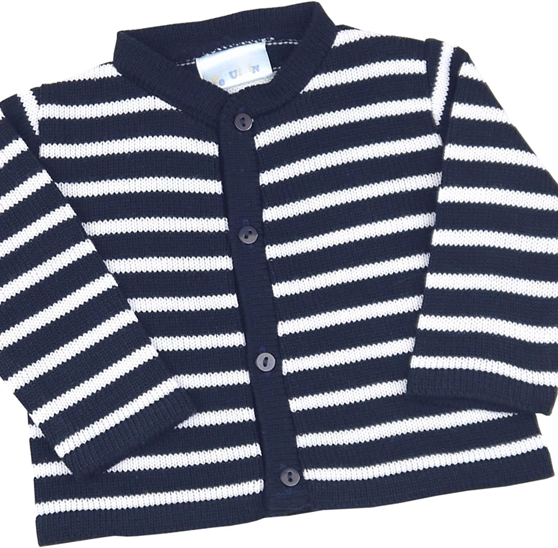 BabyPrem Baby Cardigan Jacket Boy Girl Navy Stripes Soft Knitted 0-12 Months