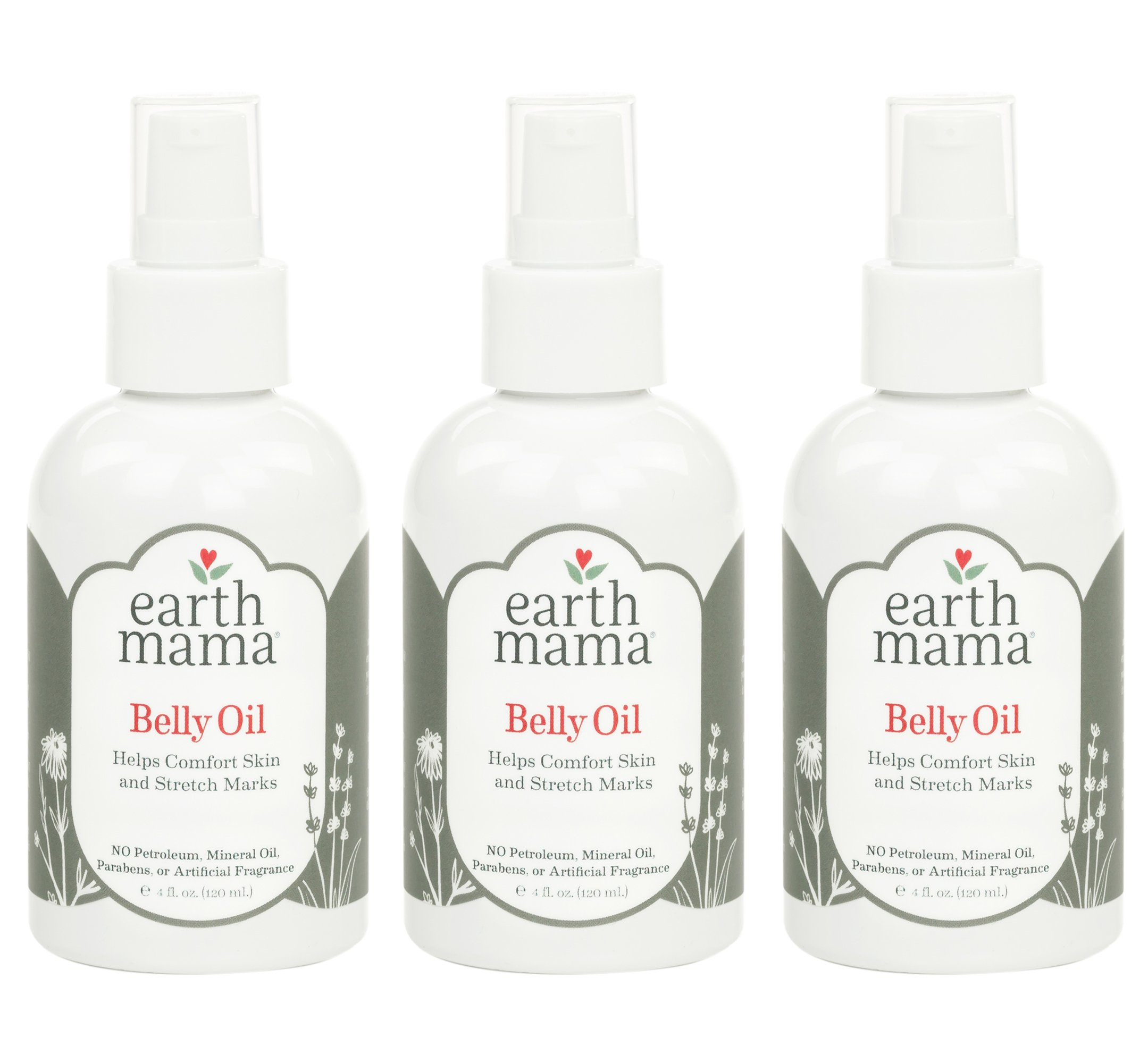 Earth Mama Belly Oil to Help Ease Skin and Stretch Marks, 4-Fluid Ounce (3-Pack)