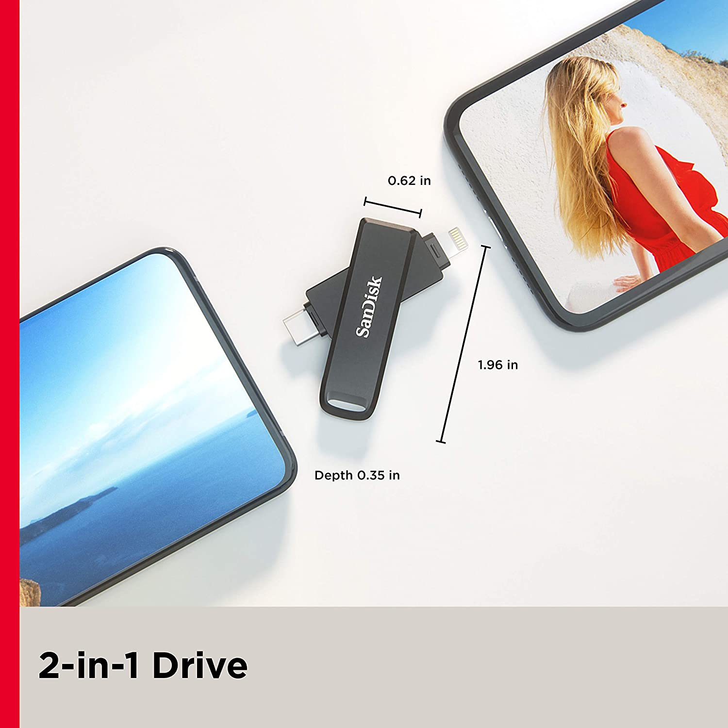 SanDisk 256GB iXpand Flash Drive Luxe for iPhone and USB Type-C Devices SDIX70N-256G-GN6NE