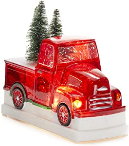 Christmas Light-Up Snow Globe - Red Truck - 8 x 6.5 Inches
