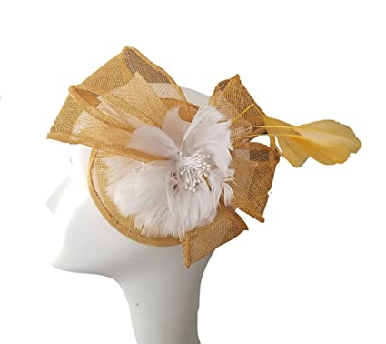 Masina   Co. Yellow and White Fascinator With Feather Detail at ... 377f752341f