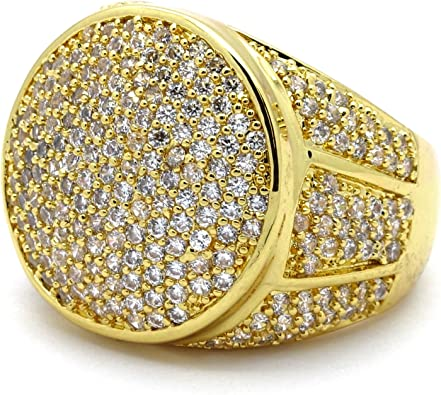 Iced-Out Pinky Ring Gold Tone Micro Pave Rectangle Men Big Bling Hip Hop SZ 7-12