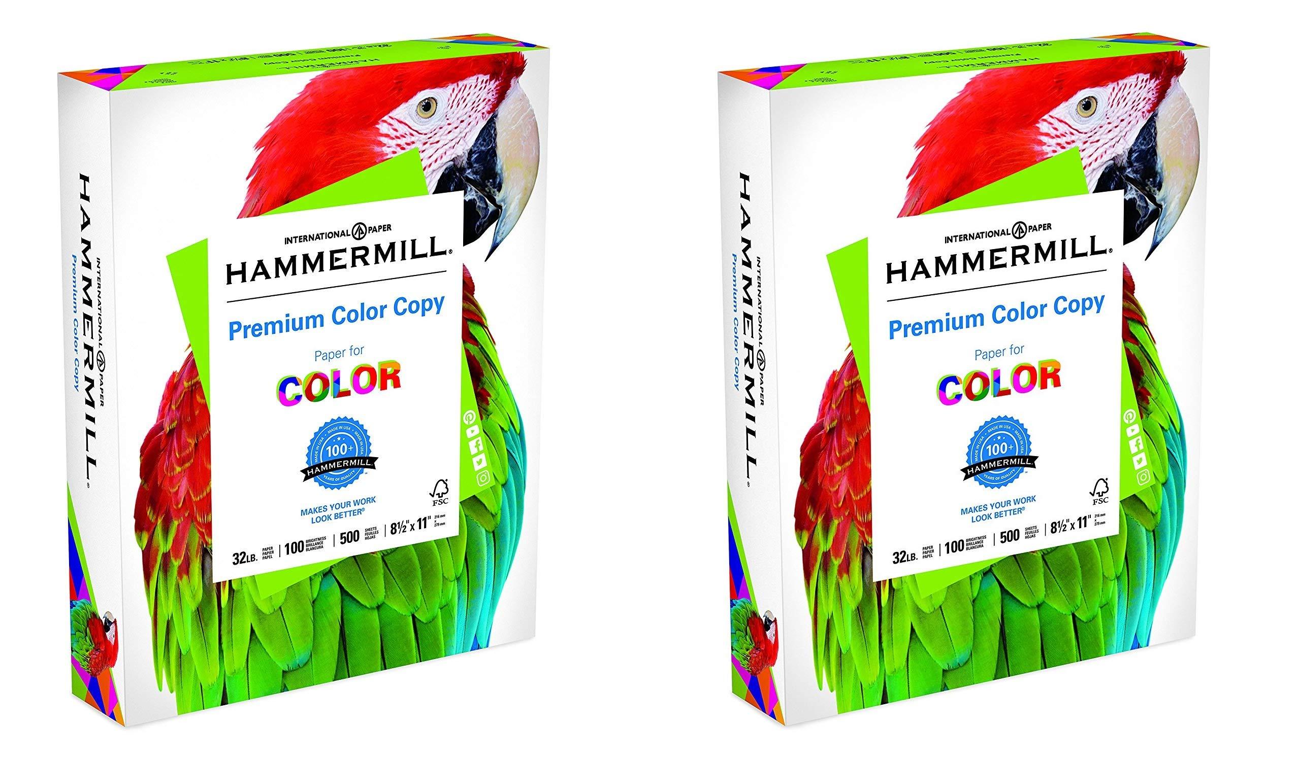 Hammermill Paper, Premium Color Copy, 32lb, 8.5 x 11, Letter, 100 Bright (2 X Pack of 500)