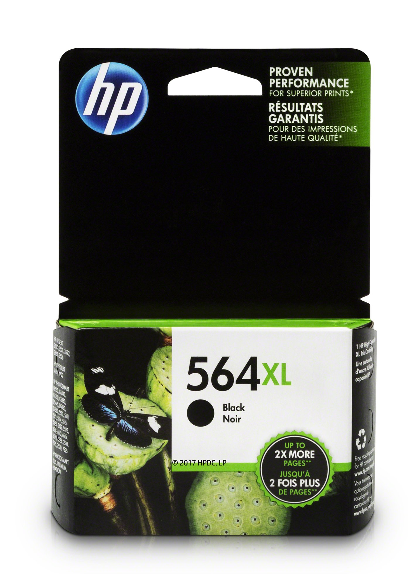 HP 564XL Black Ink Cartridge (CN684WN) for HP Deskjet 3520 3521 3522 3526 HP Officejet 4610 4620 4622 HP Photosmart: 5510 5512 5514 5515 5520 5525 6510 6512 6515 6520 6525 7510 7515 7520 7525 B8550 C6340 C6350 D7560 C510 B209 B210 C309 C310 C410 C510
