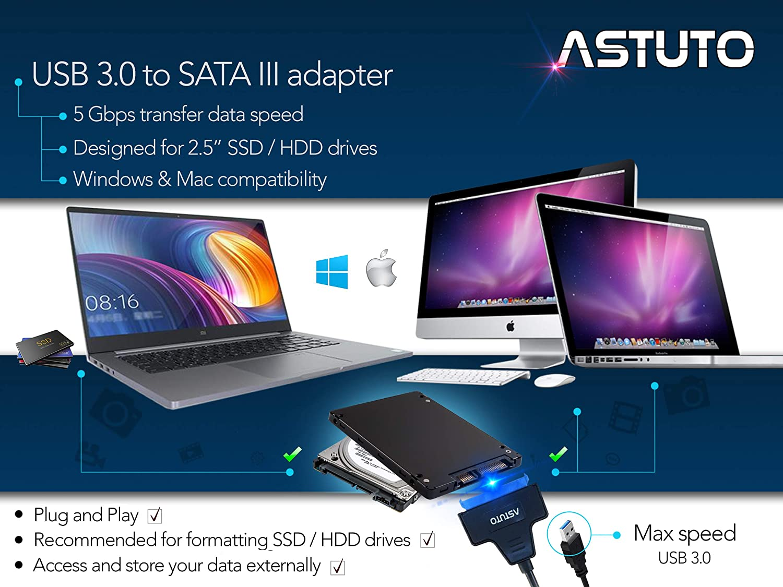 """Cable convertidor USB 3.0 para conectar Discos Duros externos. ASTUTO Adaptador de USB 3.0 a SATA III para Discos Duros HDD y SSD de 2,5/"""""""