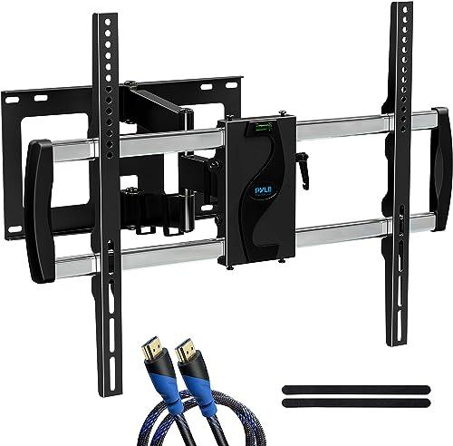 Universal Wall Mount TV Bracket – Flat Screen TV Wall Mount Full Motion Tilting – Mounts 42-70 LED LOLED Plasma TV Flat Screens – VESA Mounting, 90 Swivel, 132 lbs Weight Capacity – PYLE PYWM66