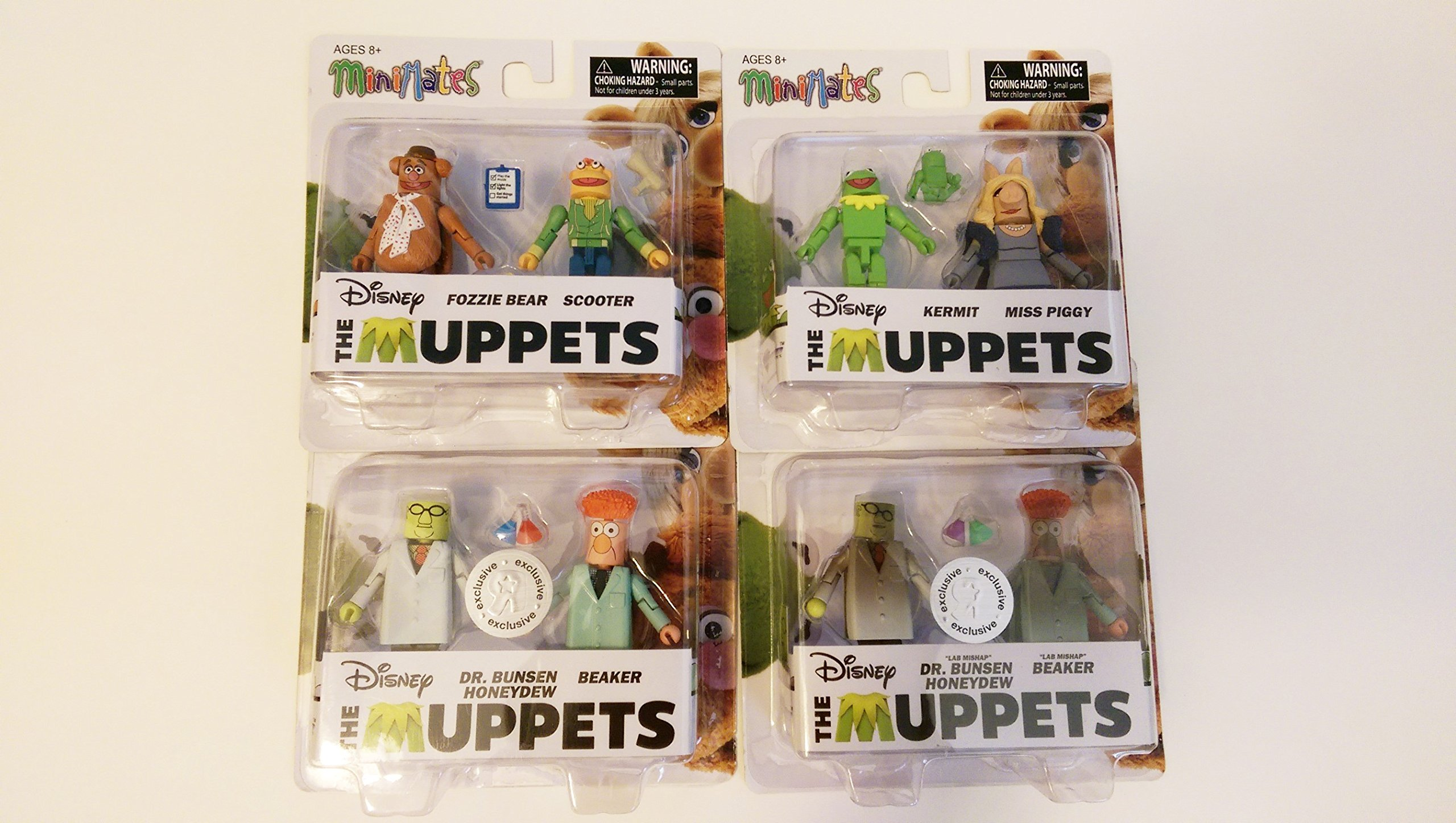 The Muppets Minimates Set of 8 ''Lab Mishap'' - Kermit, Miss Piggy, Fozzie Bear, Scooter, Dr. Bunsen Honeydew, Beaker, Lab Mishap Dr. Bunsen Honeydew, Lab Mishap Beaker by The Muppets