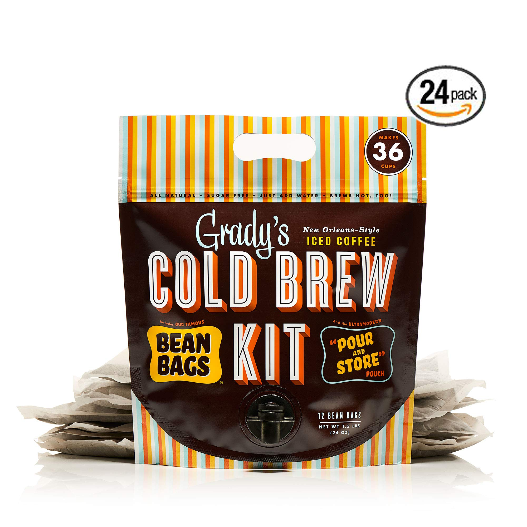 Grady's Cold Brew Iced Coffee Kit, New Orleans Style, 24 ounces (Pack of 24)