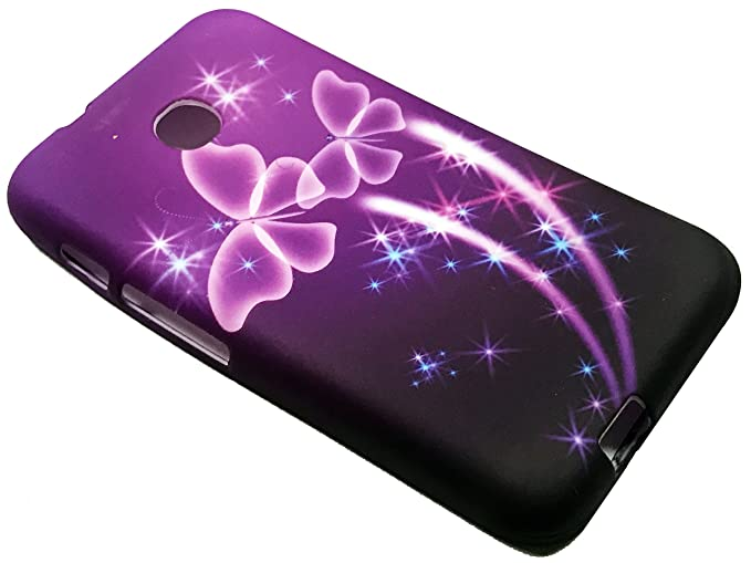low priced b8c3b 08abe For TracFone Alcatel Pixi Unite A466BG Soft Flexi TPU Skin Protective Case  Phone Cover + Gift Stand (TPU Purple Butterfly)