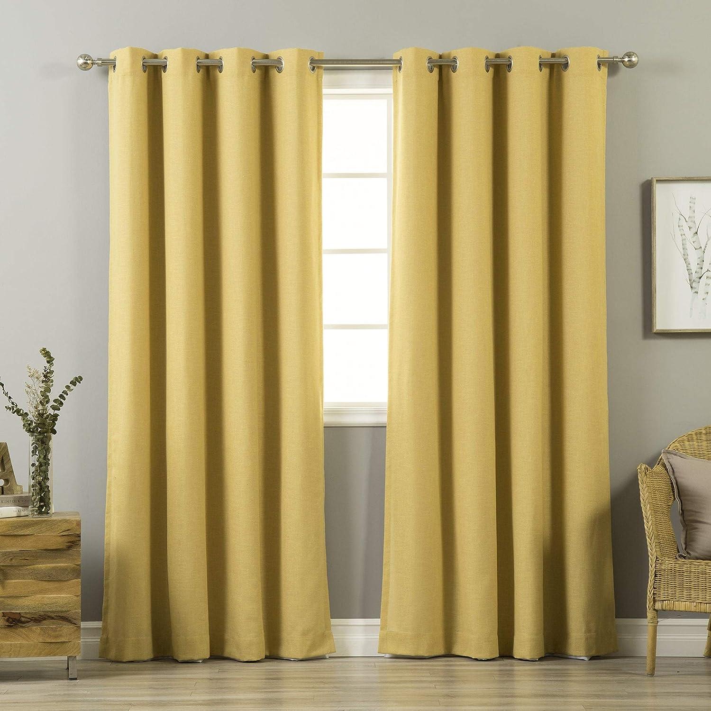 Aurora Home Mix & Match Linen Blend and White Blackout 4 Piece Curtain Panel Set - 52 x 84-52 x 84 Mustard