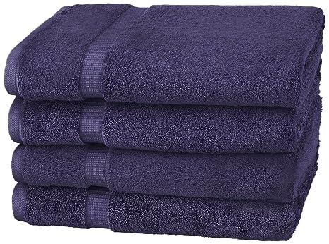Pinzon - Toallas de baño de mezcla de algodón orgánico, juego de 4, Azul