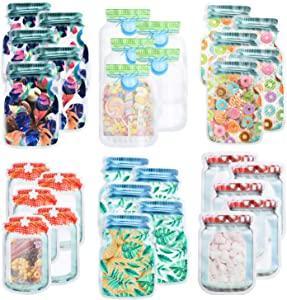 30 Pack Mason Jar Zipper Bags Reusable Food Storage Bags for Snack Sandwich Nuts Cookies Airtight Seal Leak-Proof Food Organizer for Travel Picnic Kids Resealable Ziplock Bottles Shaped Food Saver Bag